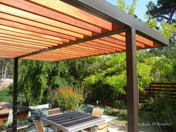 contemporary wooden pergolas | Modern Steel and Wood Pergola .