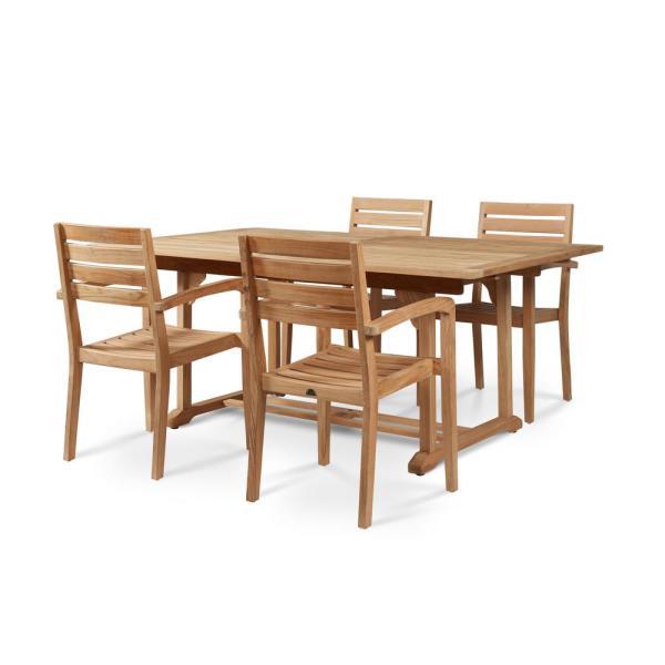 HiTeak Furniture Dalton Rectangular Teak Outdoor Dining Table with .