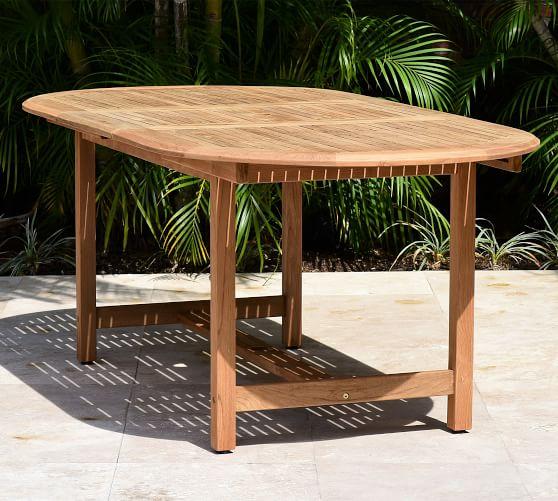 Nassau Oval Teak Outdoor Dining Table | Pottery Ba