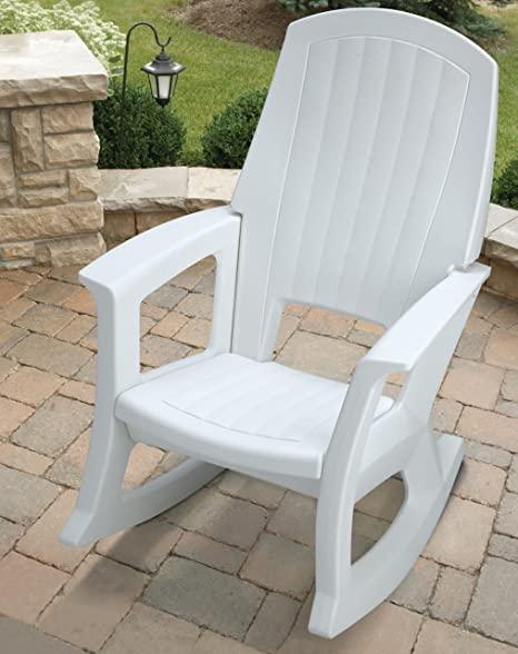 Amazon.com : White Outdoor Rocking Chair, 600-Lb. Capacity : Patio .