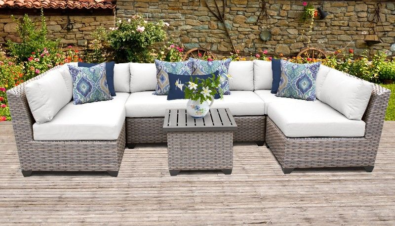 Florence 7 Piece Outdoor Wicker Patio Furniture Set 07c in Sail Whi