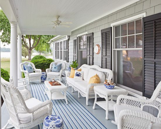 Simple-porch-design-ideas-for-houses - LaurieFlower | White wicker .