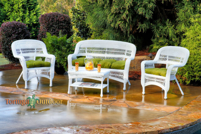 4 Piece White Wicker Patio Furniture Set Green Fabric Cushions .