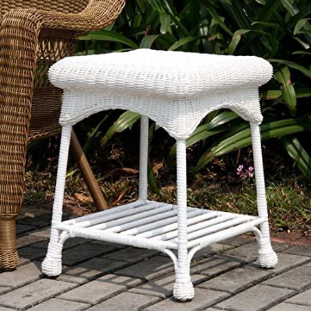 Amazon.com : Wicker Lane Outdoor White Wicker Patio Furniture End .