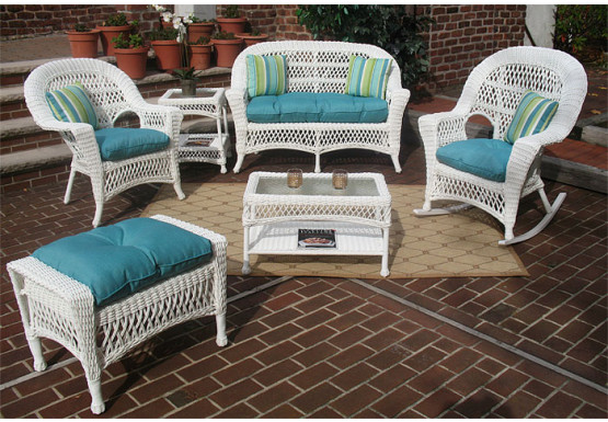 4 Piece Madrid Wicker Set with Cushions 2- Chai