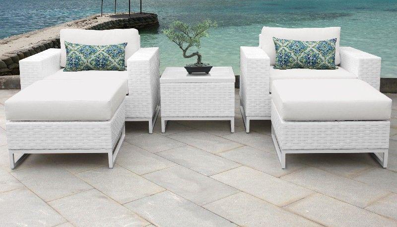 Miami 5 Piece Outdoor Wicker Patio Furniture Set 05e in Sail White .