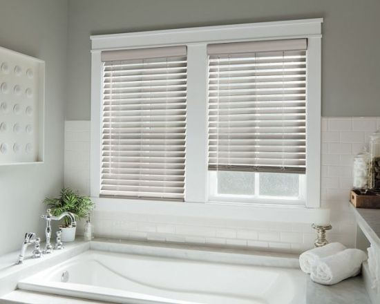 China Fsc-Certified, 50mm White Wooden Venetian Blinds for Bay .