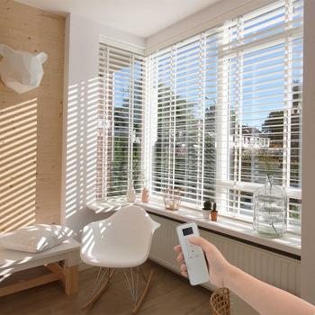 Custom Made Indoor Motorised White Wooden Venetian Blinds - Buy .