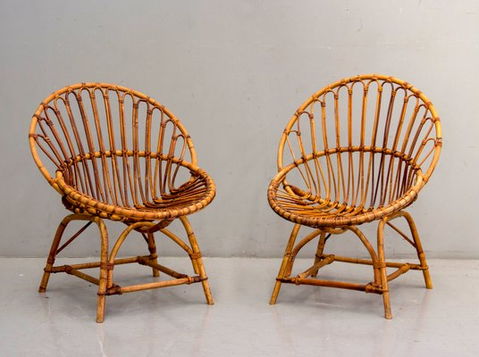 Wicker Chairs, 1960s, Set of 2 for sale at Pamo
