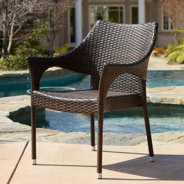 Noble House Cliff Multi Brown Wicker Outdoor Dining Chairs (Set of .