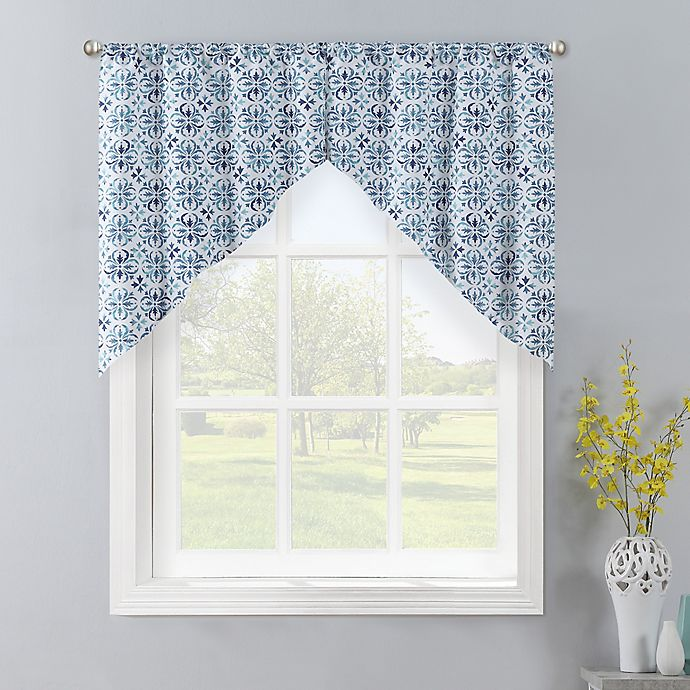 Colordrift Gallow 2-Pack Swag Window Valances in Aqua | Bed Bath .