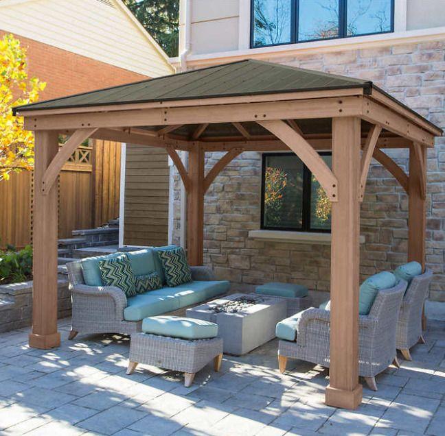 Cedar Gazebo 12x12 Kit Backyard Hardtop Outdoor Large Wood .
