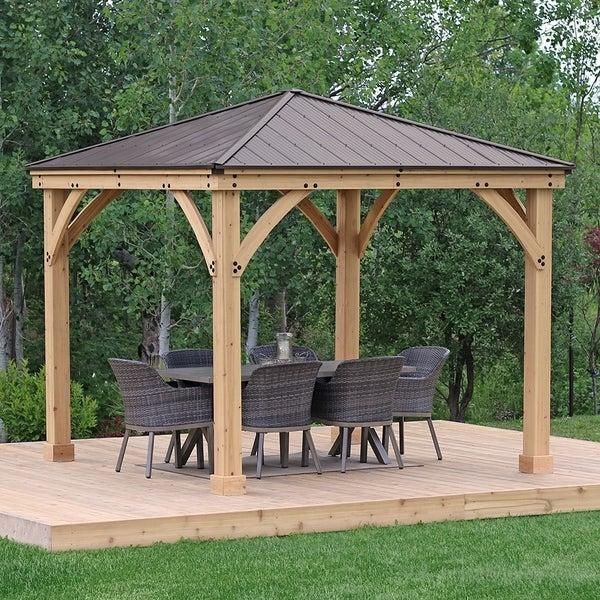 Shop 10 x 10 Meridian Wood Gazebo with aluminum Roof - Overstock .