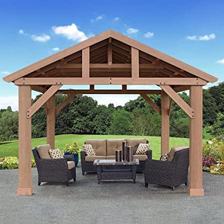 Amazon.com : Pre-Stained Premium Cedar Wood & Aluminum 14 x 12 .