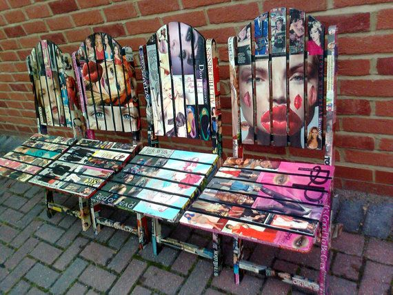 Decoupage Wooden Garden ChairsFashion magazinesupcycled by artdp .