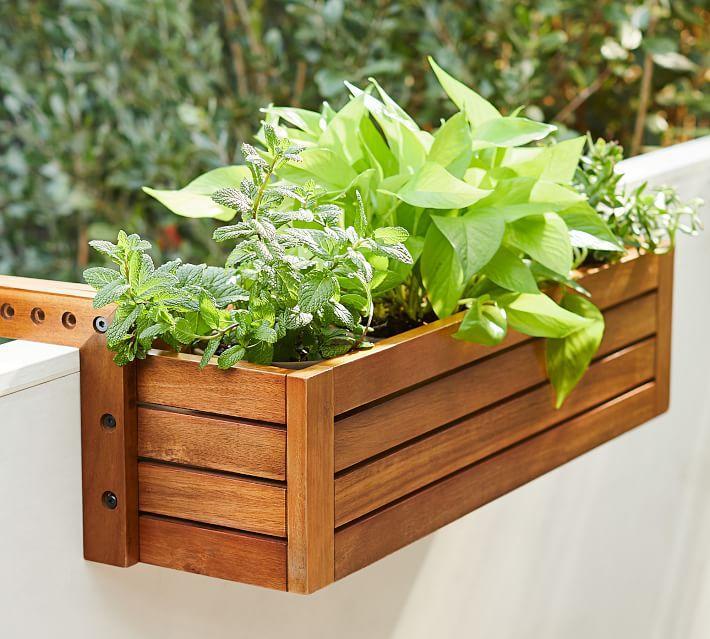 Juliet Balcony Wood Planter Box On Ra