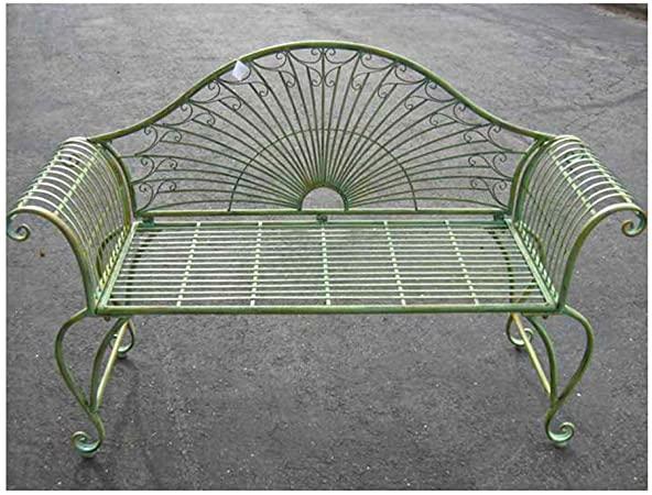 """Amazon.com : Garden-Bench 37"""" High - Wrought Iron - Antique Green ."""