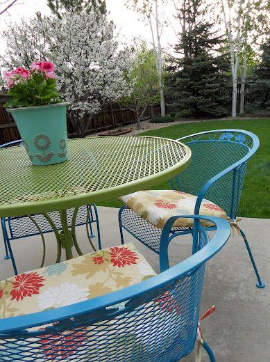 refurbishing wrought iron furniture - love this idea....I think we .