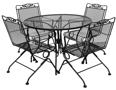 Wrought Iron Table and 4 Spring Rockers by Meadowcraft | Turner's .